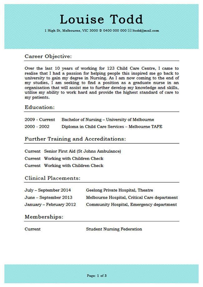 Example resume australia