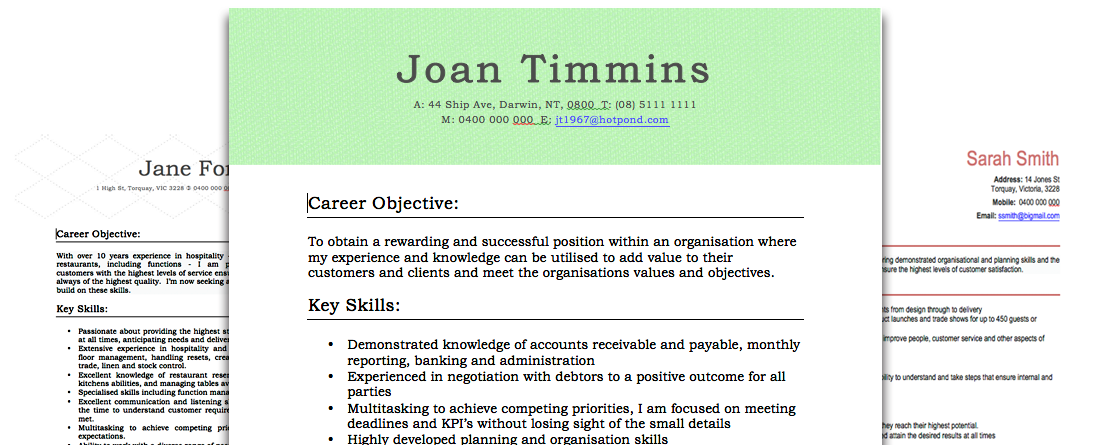 Real Resume Examples | Career Advice and Support | Australia